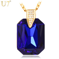 18K Real Gold Plated Necklaces Fashion Jewelry Women Gift Sale 2014 New Career Sytle Blue Stone