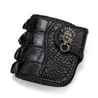 100% Genuine Crocodile Skin Men's Short Card Holder Wallet Exotic Alligator Leather Zipper Coin Pocket Male Hasp Clutch Purse