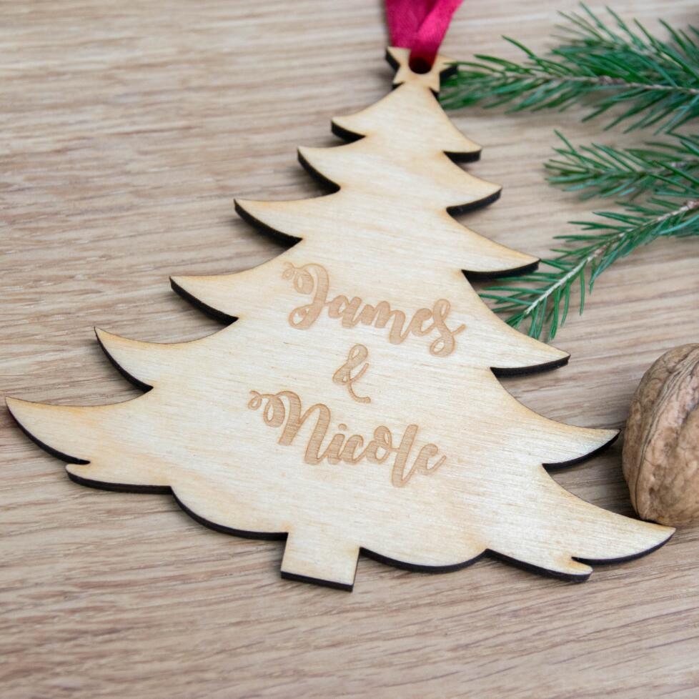 Personalised Christmas Tree Decoration Bauble Wooden Ornaments
