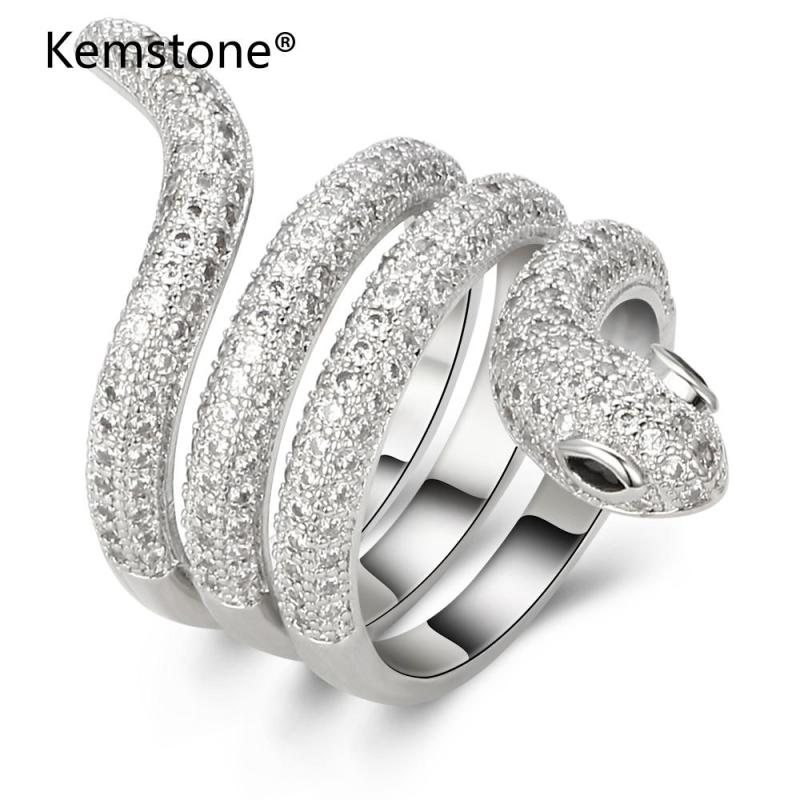 Kemstone Original Silver Color Crystal Twisted Snake Ring Jewelry For Women, Size 6, 7, 8, 9 стоимость