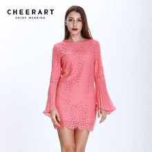 ФОТО cheerart 2017 evening party lace dress women bodycon flare sleeve pink ladies dresses autumn robe femme clothing