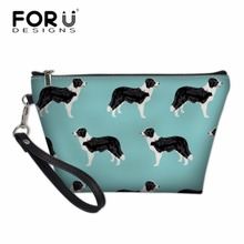 FORUDESIGNS Women Border Collie Printed Travel Wash Bags for Make Up Pouch Cosmetic Cases Toiletry Bag Kit Storage Girls