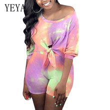 YEYA Summer Femme Elegant Retro Jumpsuits Casual Two Pieces Sets O Neck Lace-up Hollow Out Playsuits Women Tie Dye Print Rompers