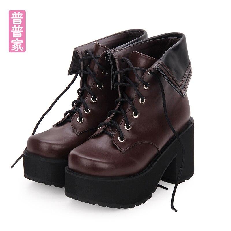 bleu Ronde Noir Japonais Pu8878 Chaussures Marine Bottes Courtes À Tête Épais Cravate Princesse Douce Col Femmes Vent Talons Lolita Hauts Frais Muffin marron 5Rj43AL