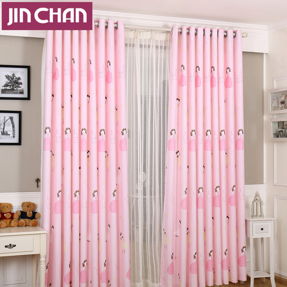 Window Curtain Blackout Children Room Curtains Underwater: Princess Printed Pink Window Shade Blackout Curtain Fabric