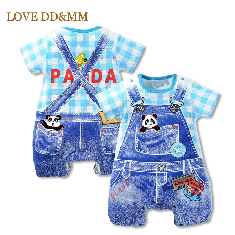 Baby Boys Clothes 2017 New Summer Baby Girl Rompers Panda Dot Strap Short-sleeved One Pieces Jumpsuit Clothing