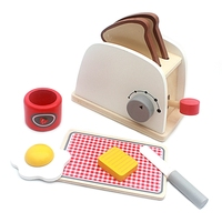Wood Pretend Play Kitchen Role Play Game Toy Simulation Toasters Bread Maker Kitchen Play Food Set Educational Baking Kits Game