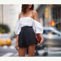 Summer New Puff Sleeve Back Zipper T Shirt Women Patchwork Mesh Tee Shirt Sexy Backless Strapless Crop Top