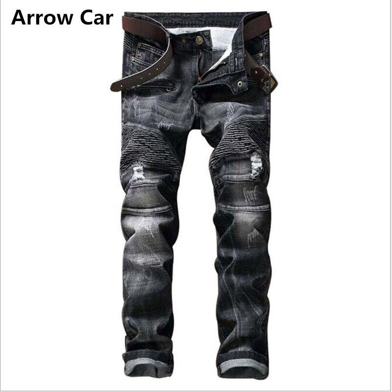 Flèche voiture Jeans hommes 2018 Style européen tendances plissé mince petit droit plis pantalons hommes survêtement déchiré Jeans hommes