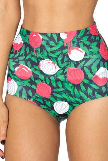 EAST KNITTING New Fashion Women Summer Short High Waist Roses Print Sexy Short Pants