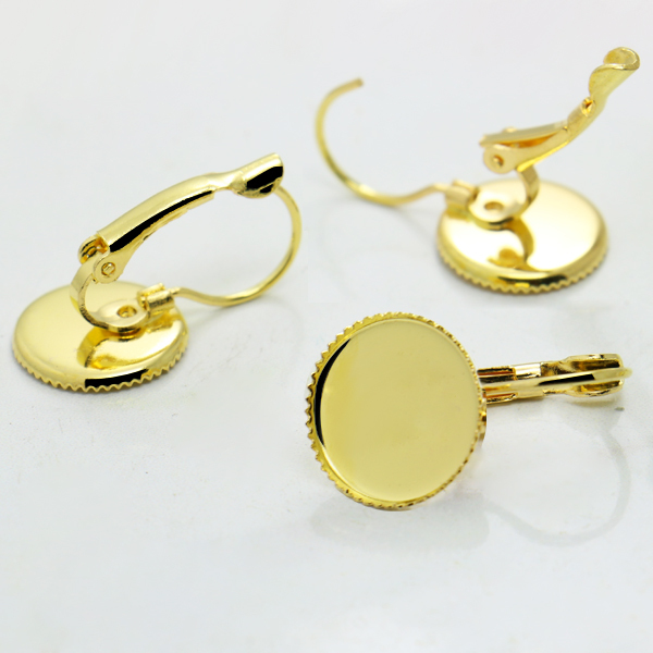 20pcs Gold Plated Fashion Hook Eearring Jewelry w/ 12mm Tray Teeth Edge for Bezel Cabochons