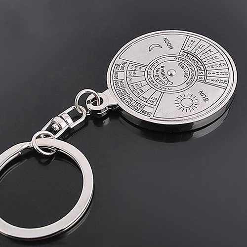 50 ปีปฏิทินตลอดกาล Keyring พวงกุญแจ Silver Alloy Key Key Keyfob ตกแต่ง 8P9V