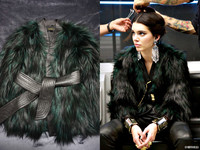 2016 Women Fashion Limited Edition Luxury Brand New Faux Fur Jackets WIth Genuine Leather Belt V neck Long Sleeved Furry Top