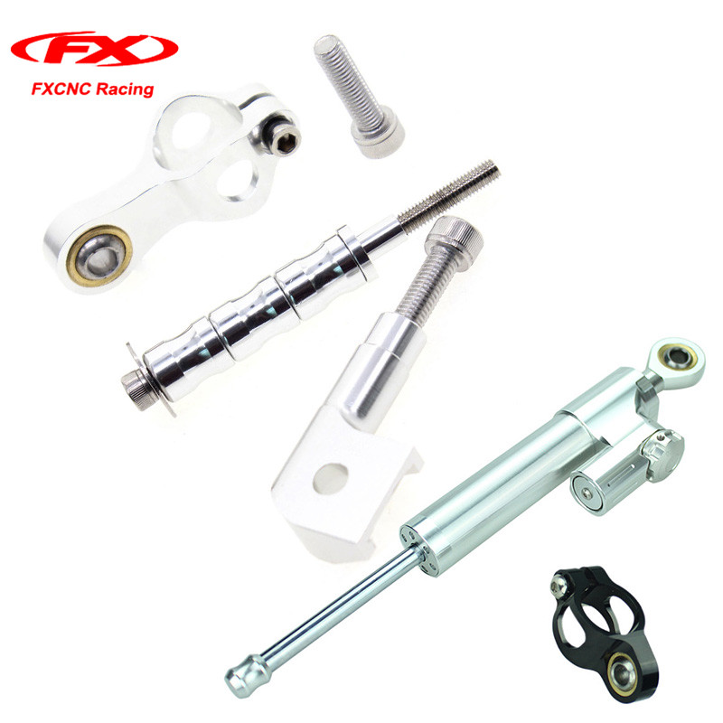 1 Set FXCNC Silver Black Steering Damper Mounting Stabilizer with Brackets for Yamaha YZF R1 1998 1999 2000 2001 (for Yamaha) fxcnc aluminum motorcycle steering stabilizer damper mounting bracket support kit for yamaha fz1 fazer 2006 2015 2007 2008 09