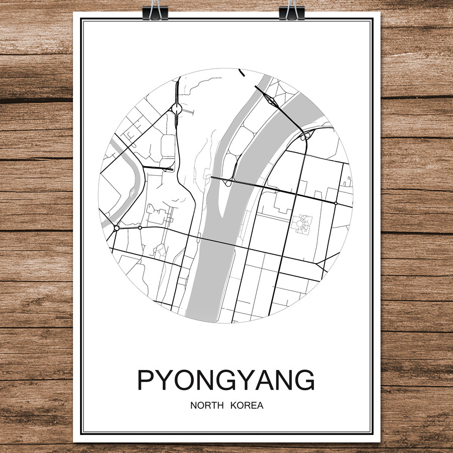 Black White World City Map of PYONGYANG North Korea Print Poster Coated Paper Cafe Bar Living Room Home Decor Wall Art Sticker image