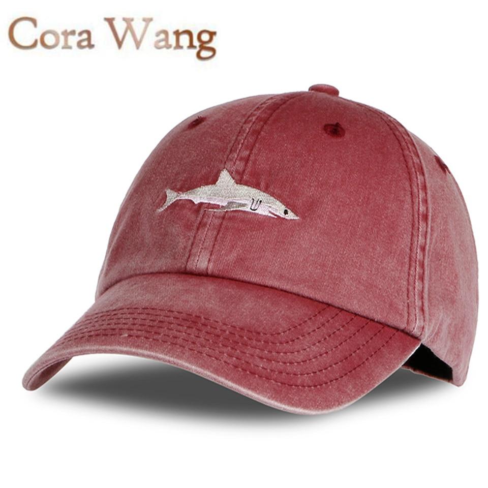 2017 Top Fashion Washed Baseball Cap Men Pink Shark Embroidery Dad Hat for Women gorras planas snapback dad bosco