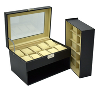 20 grids jewelry watches case display boxes Business home use black Pu leather storage boxes holder drawer 2 layer fashion case