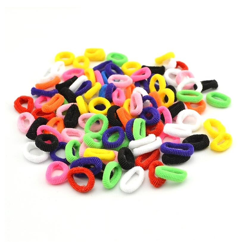 <font><b>100</b></font> Pcs Colorful Black White Child Kids <font><b>Hair</b></font> Holders Rope Rubber Bands Elastic <font><b>Hair</b></font> Band Accessories For Girl Charms <font><b>Tie</b></font> Gum image