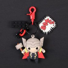 3D Cartoon Figure Marvel Avengers Keychain Cute Thor Iron man  Captain America Spider Man Key Chain Ring Trinket Gift