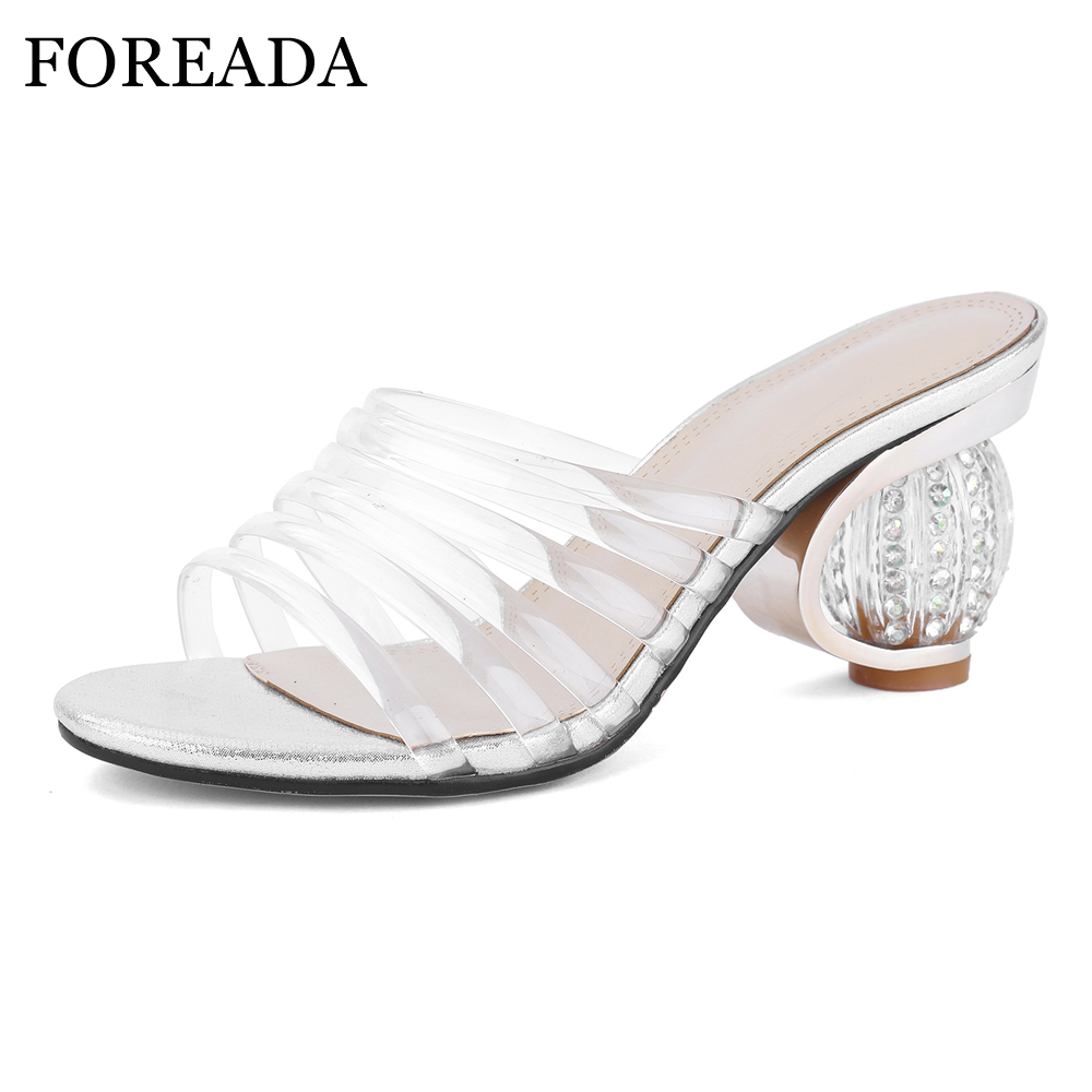 FOREADA Summer Shoes Women Slippers Rinestone Strange Style High Heels Shoes Transparent Open Toe Party Slides Lady Sandals RedFOREADA Summer Shoes Women Slippers Rinestone Strange Style High Heels Shoes Transparent Open Toe Party Slides Lady Sandals Red