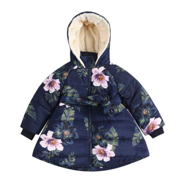 075971825 Winter 2018 Coat Kid Baby Girl Floral Print Hooded Jacket Girls Kids Padded  Jacket Long Sleeve Bow Casual Children's Outerwear