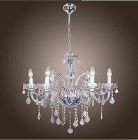 LED Modern K9 Crystal Chandelier 6 Lights Home Chandeliers Lustres De Sala Lustre De Cristal E14