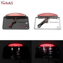 Triclicks Black Chrome Side Mount License Plate Lights LED Tail Light Bracket Car Light For Harley Bobber Chopper Motorcycle New