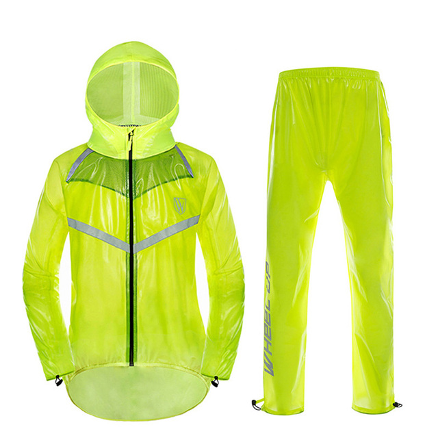 d8ed2cc21 Anti Rain Riding Cycling Jersey Sets Safety Reflective Cycling Clothing  Outdoor TPU Material Waterproof Riding Split