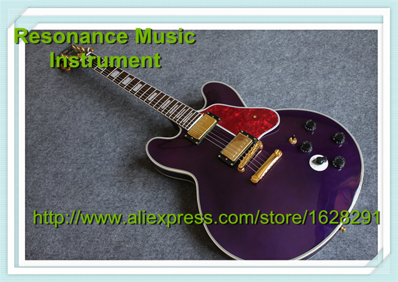 Purple Classical Lucille 65th Birthday B.B. King ES Guitars Binding Body Guitar China Lefty Available high quality musical instrument cherry sunburst classical hollow guitar body es jazz guitars china lefty available