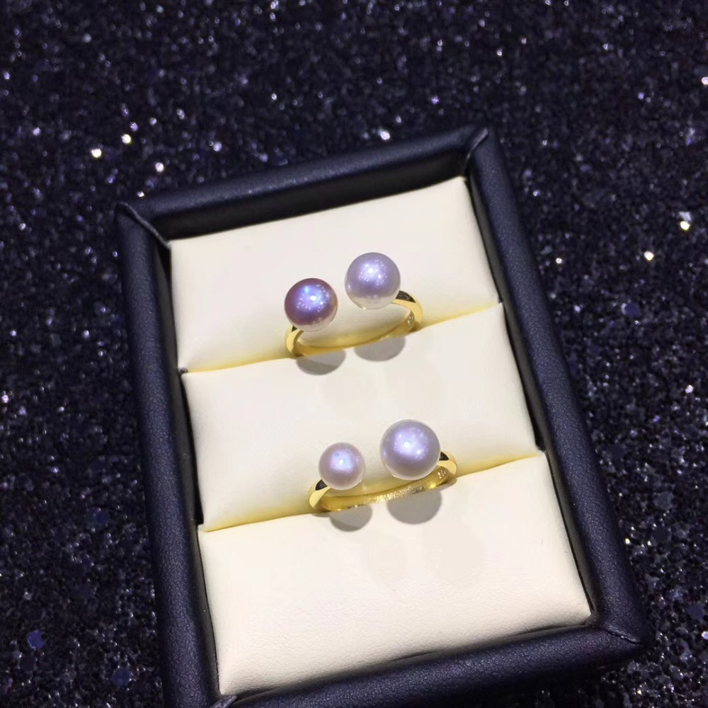 YIKALAISI 925 Sterling Silver Jewelry Pearl Ring Jewelry For Women Fashion 100% Natural 5-6/7-8 Mm Freshwater Pearl Wholesale