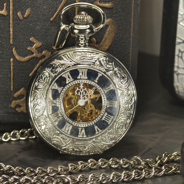 TIEDAN Silver Steampunk Mechanical Pocket Watch Men Vintage Skeleton Antique Lux