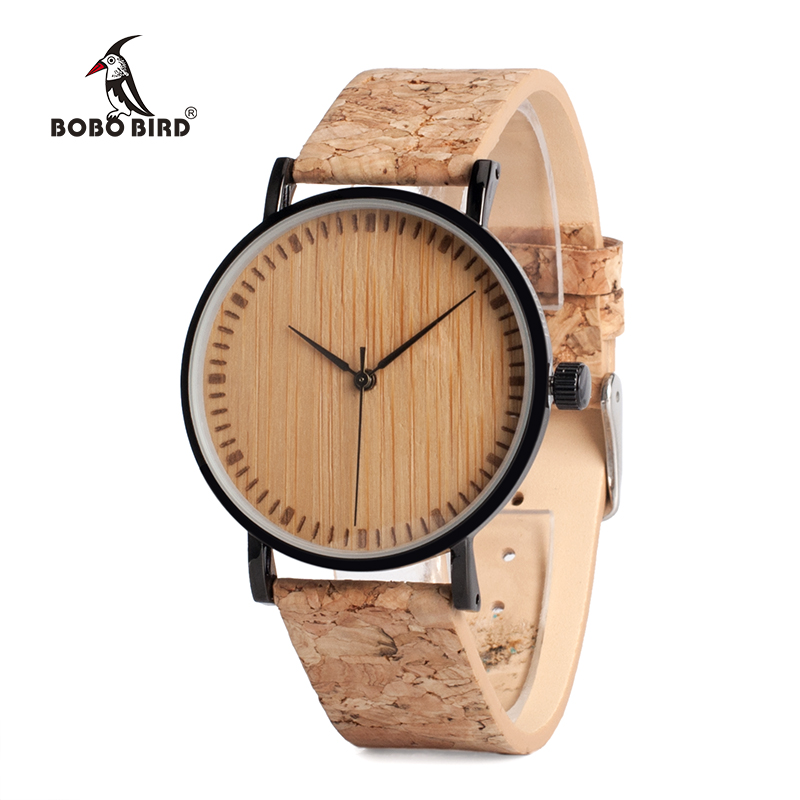 купить BOBO BIRD Wooden Dial Watches Cork Strap Unique Wood Watch Ladies Wristwatch for Men and Women relogio feminino C-E19 дешево