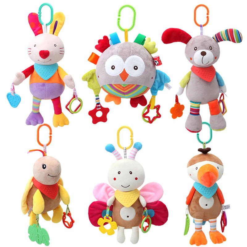 Newborn Baby Crib Mobile Toys Soft Anime Plush Stuffed Animal Bunny Infant Stroller Toys For Children 0-12 Months Developmental