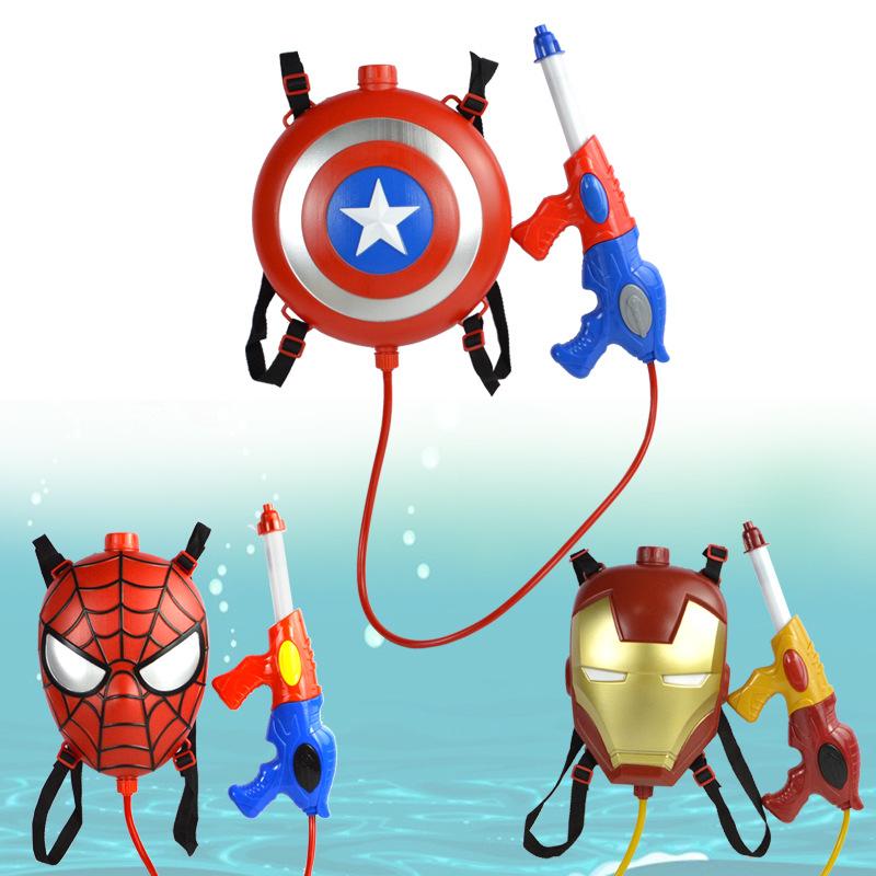 Avenger League Boy Iron Man Spider-man Backpack Water Gun Outdoor Combat Water Gun Combination Launches toys for children