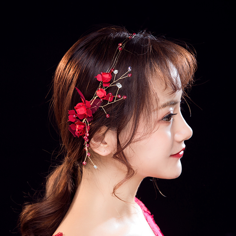 red bridal hair accessories tiara