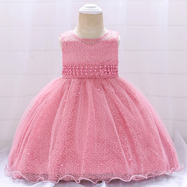 06dd72c895b36 US $8.71 26% OFF|Children's New Year Lace Sleeveless Dress 1 Year Old  Girl's Birthday Dress Girl Party Pearl Princess Dress Little Girl's  Costume-in ...