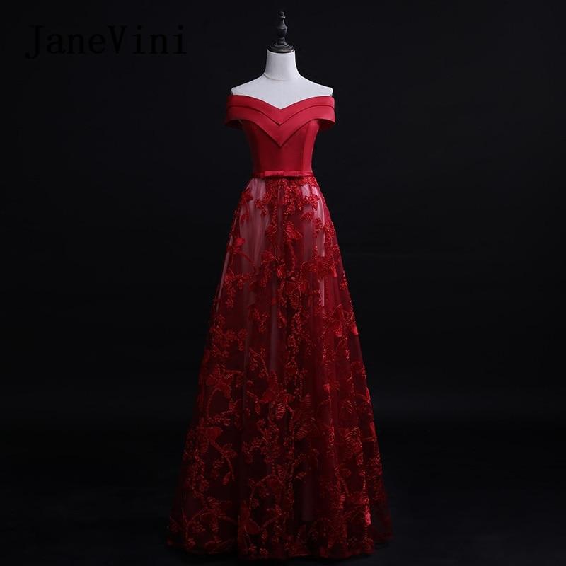 a9ed48fe44 JaneVini 2018 Elegant Burgundy Long Bridesmaid Dresses for Wedding Tulle  Sleeveless Lace-up Back ...