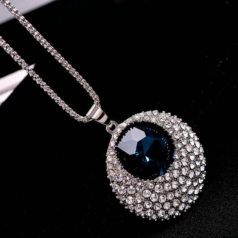 Vintage Blue Crystal Duga Ogrlica Žene Bijoux Modni Nakit Ogrlice & - Modni nakit - Foto 4