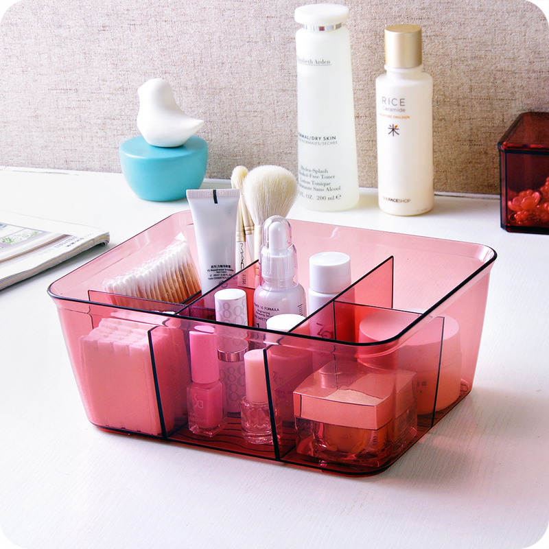 Multicellular Plastic Cosmetic Storage Box Transparent Acrylic Makeup Organizer Bathroom Desktop Jewelry Finishing Box