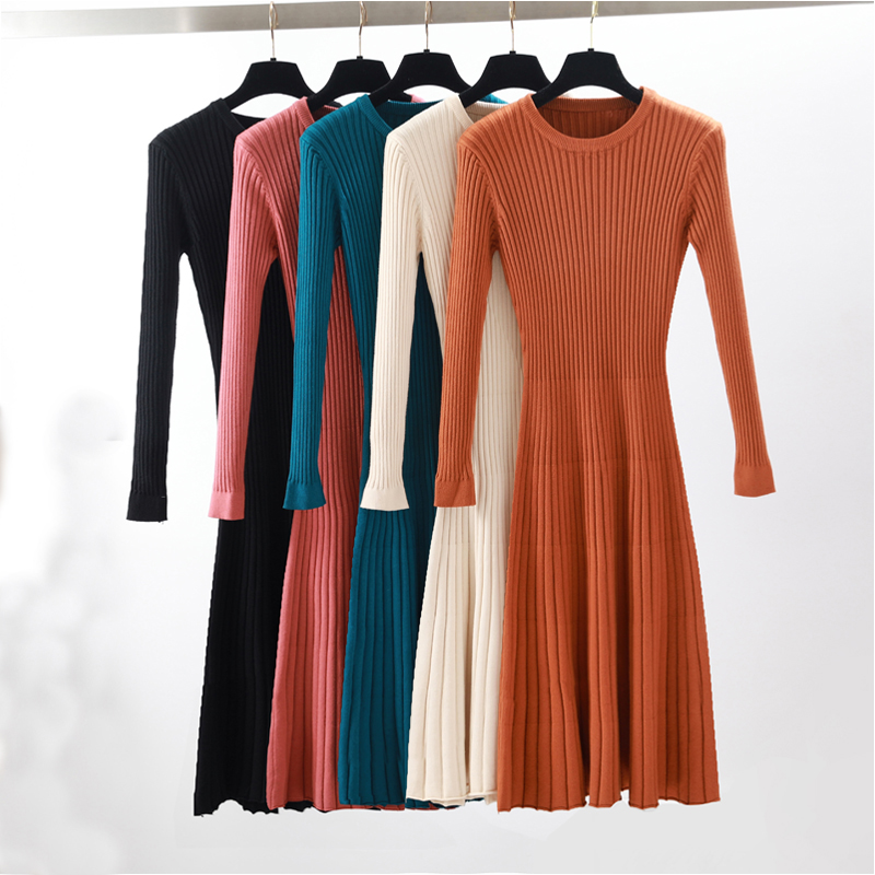 2019 Femme élégante Automne pull d'hiver robe Solide Femmes long et Épais robe Pull Plein Manches longues A-ligne robe robe en tricot