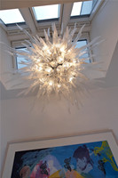 LR762 Free Shipping Designer Handmade Blown Glass High Ceiling Chandelier