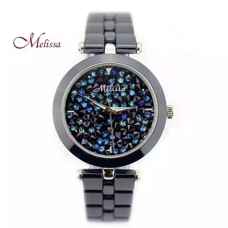 MELISSA Brand High-tech Ceramic Watches Elegant Lady Summer Fashion bracelet Wrist watch Shining Crystals Montre Femme F8160 elegant shining crystal alloy bracelet