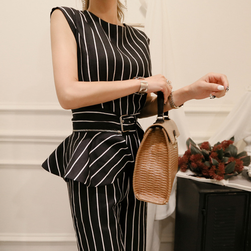 2018 Korean Summer Temperament Sleeveless Two Piece Set Stripe Fashion Wide Legging 2 Piece Set Women 3