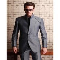 Fantastic Design Grigio Abiti Da Uomo 2017 Tough Guy Style slim fit grigio Groomsmen Best Man Smoking da Uomo Vestito Weding Blazer Con I Pantaloni