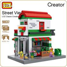 LOZ Diamond Blocks Convenient Store Shop DIY Building Blocks City Series Mini Street Model Villa Creator Toys Supermarket 9037