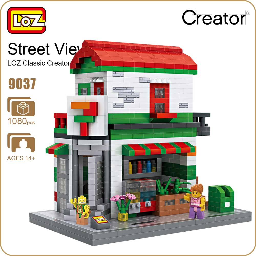 LOZ Diamond Blocks Convenient Store Shop DIY Building Blocks City Series Mini Street Model Villa Creator Toys Supermarket 9037 mr froger loz dutch windmill diamond block world famous architecture series design diy building blocks classic toys children