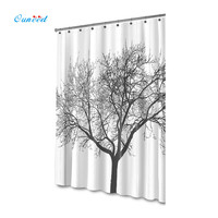 High Quality Stylish Bold Black White Tree Shower Curtain Waterproof Mold Resistant Tree Design Peva Curtain