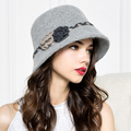Female Elegant Commuter Folding Hat Lady Double Flower Plait Wool Hat Bonnet Knitted Cap Basin of Autumn Cap B-4376