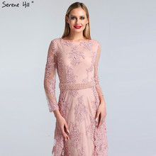 SERENE HILL Pink O-Neck Long Sleeves Mermaid Party Dresses
