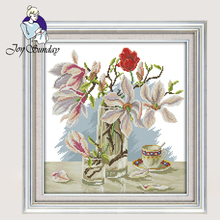 Joy Sunday,Magnolia flower,cross stitch embroidery set,printing cloth embroidery kit,needlework,Flowers picture cross stitch kit joy sunday magnolia flower cross stitch embroidery set printing cloth embroidery kit needlework flowers picture cross stitch kit